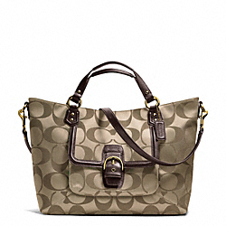 COACH F25290 Campbell Signature Izzy Fashion Satchel BRASS/KHAKI/MAHOGANY