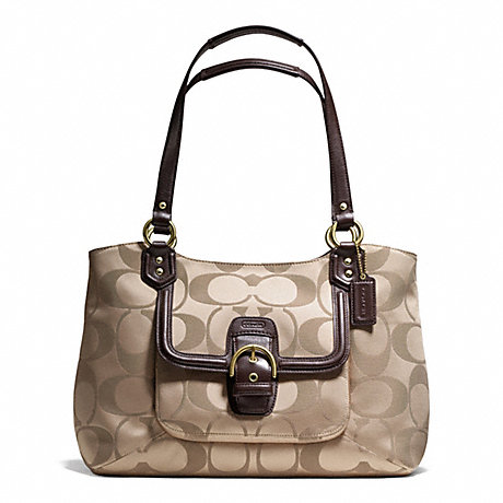 COACH f25294 CAMPBELL SIGNATURE BELLE CARRYALL BRASS/KHAKI/MAHOGANY