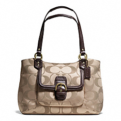 COACH F25294 - CAMPBELL SIGNATURE BELLE CARRYALL BRASS/KHAKI/MAHOGANY