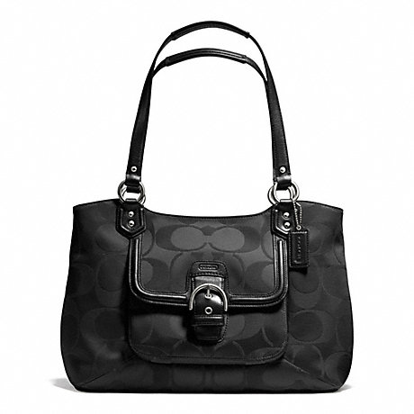 COACH f25294 CAMPBELL SIGNATURE BELLE CARRYALL SILVER/BLACK