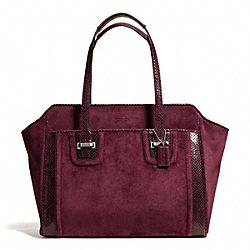 COACH F25301 Taylor Suede Alexis Carryall SILVER/BORDEAUX