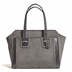 COACH F25301 Taylor Suede Alexis Carryall SILVER/GRAPHITE