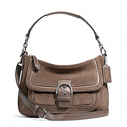 COACH F25302 Campbell Suede Small Convertible Hobo SILVER/FLINT
