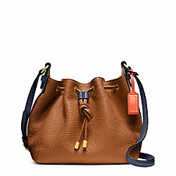 COACH F25305 - SOFT PEBBLED LEATHER DRAWSTRING CROSSBODY BRASS/SADDLE