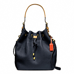 COACH F25306 - SOFT PEBBLED LEATHER DRAWSTRING SHOULDER BAG BRASS/MIDNIGHT