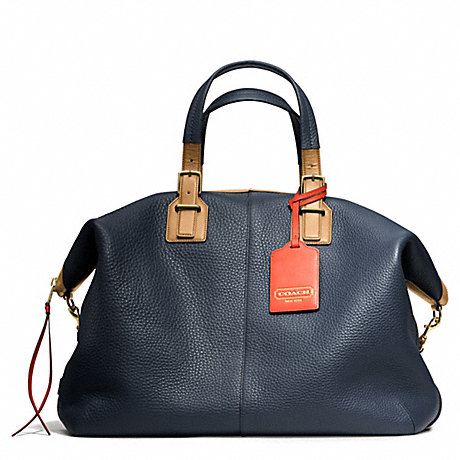 Coach F25308 Soft Travel Satchel In Pebbled Leather Brass Midnight Coach Handbags