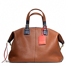 COACH F25308 - SOFT TRAVEL SATCHEL IN PEBBLED LEATHER BRASS/SADDLE
