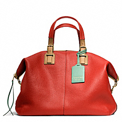 COACH F25308 - SOFT TRAVEL SATCHEL IN PEBBLED LEATHER BRASS/VERMILLION