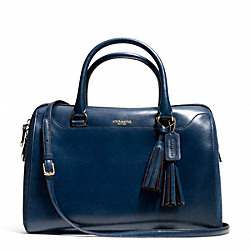 COACH F25319 Pinnacle Large Haley Satchel In Polished Leather GOLD/DEEP NAVY