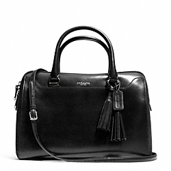COACH F25319 Pinnacle Large Haley Satchel In Polished Leather SILVER/ONYX