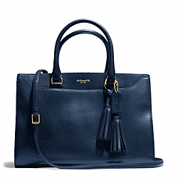 COACH F25320 Leighton Pinnacle Polished Leather Frame Carryall GOLD/DEEP NAVY