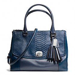 COACH F25336 Embossed Python Large Harper Triple Zip