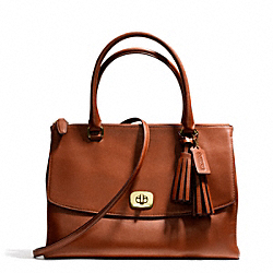 COACH F25356 - LEATHER LARGE HARPER TRIPLE ZIP SATCHEL BRASS/COGNAC