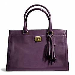 COACH F25365 Leather Large Chelsea Carryall BRASS/BLACK VIOLET