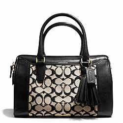 COACH F25373 Needlepoint Signature Haley Satchel BRASS/BLACK