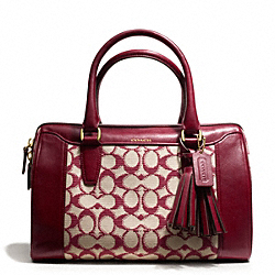 COACH F25373 - NEEDLEPOINT SIGNATURE HALEY SATCHEL BRASS/BORDEAUX