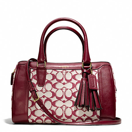 COACH F25378 NEEDLEPOINT SIGNATURE HALEY SATCHEL WITH STRAP BRASS/BORDEAUX