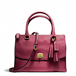 COACH F25390 - LEATHER HARPER TRIPLE ZIP SATCHEL BRASS/DEEP PORT