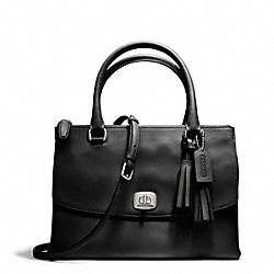 COACH F25390 - LEATHER HARPER TRIPLE ZIP SATCHEL SILVER/BLACK