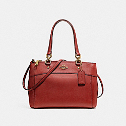 MINI BROOKE CARRYALL - f25395 - LIGHT GOLD/DARK RED