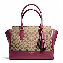 COACH F25402 - SIGNATURE MEDIUM CANDACE CARRYALL BRASS/KHAKI/DEEP PORT
