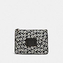 MULTIFUNCTIONAL POUCH WITH CHEVRON STAR PRINT - F25407 - BLACK/CHALK