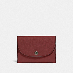 COACH F25414 Snap Card Case In Colorblock RED CURRANT
