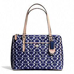 COACH F25457 Peyton Dream C Jordan Double Zip Carryall SILVER/NAVY/TAN