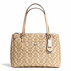 COACH F25457 Peyton Dream C Jordan Double Zip Carryall SILVER/LIGHT KHAKI/TAN