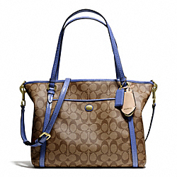 COACH F25504 Peyton Signature Pocket Tote BRASS/KHAKI/PORCELAIN BLUE