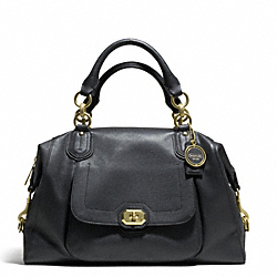 CAMPBELL TURNLOCK LEATHER LARGE SATCHEL - f25508 - BRASS/BLACK