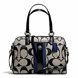 COACH F25526 - SIGNATURE STRIPE MULTI STRIPE SATCHEL SILVER/BLACK WHITE MULTI