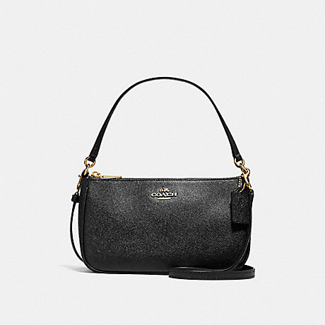 COACH f25591 TOP HANDLE POUCH LIGHT GOLD/BLACK