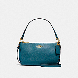 COACH F25591 Top Handle Pouch LIGHT GOLD/DARK TEAL