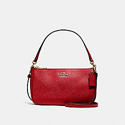 COACH F25591 Top Handle Pouch LIGHT GOLD/TRUE RED