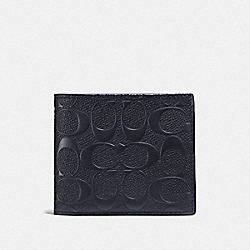 3-IN-1 WALLET IN SIGNATURE LEATHER - F25609 - MIDNIGHT