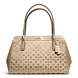 COACH F25622 Madison Op Art Sateen Kimberly Carryall LIGHT GOLD/LIGHT KHAKI/CHAMPAGNE