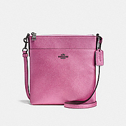 COACH F25659 Messenger Crossbody METALLIC BLUSH/DARK GUNMETAL