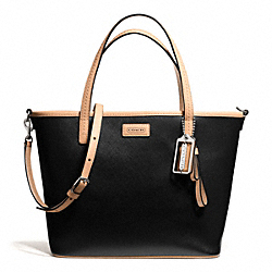 COACH F25663 - PARK METRO LEATHER SMALL TOTE SILVER/BLACK