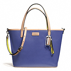 COACH F25663 Park Metro Small Tote In Leather SILVER/PORCELAIN BLUE