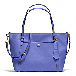 PEYTON LEATHER POCKET TOTE - f25667 - BRASS/PORCELAIN BLUE