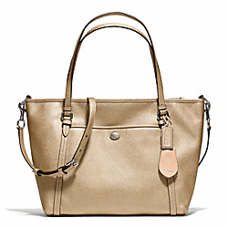 COACH F25667 - PEYTON LEATHER POCKET TOTE SILVER/GOLD