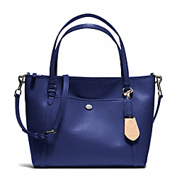 COACH F25667 - PEYTON LEATHER POCKET TOTE SILVER/NAVY