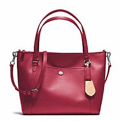 COACH F25667 - PEYTON LEATHER POCKET TOTE SILVER/RED