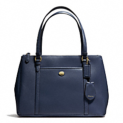 COACH F25669 Peyton Leather Jordan Double Zip Carryall INK BLUE