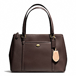 PEYTON LEATHER JORDAN DOUBLE ZIP CARRYALL - f25669 - BRASS/MAHOGANY