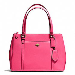 COACH F25669 - PEYTON JORDAN DOUBLE ZIP CARRYALL IN LEATHER BRASS/POMEGRANATE