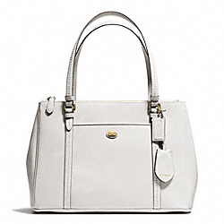 COACH F25669 - PEYTON LEATHER JORDAN DOUBLE ZIP CARRYALL BRASS/WHITE