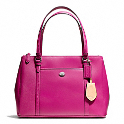 PEYTON LEATHER JORDAN DOUBLE ZIP CARRYALL - f25669 - SILVER/BRIGHT MAGENTA