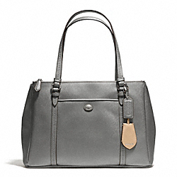 COACH F25669 Peyton Leather Jordan Double Zip Carryall SILVER/PEWTER